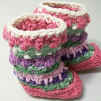 Baby Mukluks Granny Boots-Crochet-Pink-t-#205