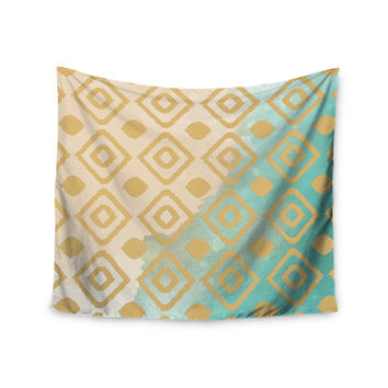 "Nika Martinez ""Watercolor Ikat"" Teal Gold Wall Tapestry"