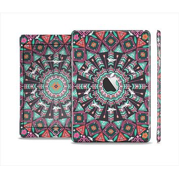 The Mirrored Coral and Colored Vector Aztec Pattern Full Body Skin Set for the Apple iPad Mini 2