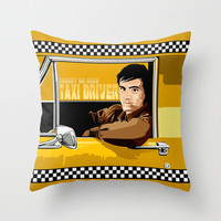 Yellow Taxi driver Travis Bickle Robert De Niro Decorative cushion Throw Pillow case by Three Second
