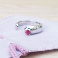 3mm Gemstone Neige Ring Sterling Silver High Polished Finish Handmade to Order