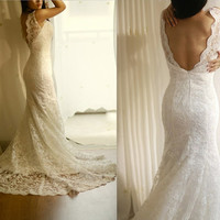 Vintage Inspired Lace Wedding Dress Mermaid Sweep Train Deep V Back Dress with Champagne Sash