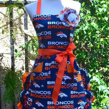 NFL Go Broncos Print With Beautiful Rose Pin Ruffled Womans Apron