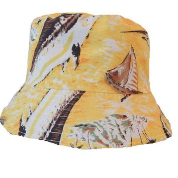 Mens Women Floral Boat yellow Bucket Hat Cotton Fishing Camping Cap Hunt