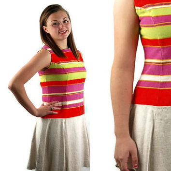 1960s MOD dress 60s drop waist dress striped by vintagerunway