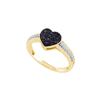 10k Yellow Gold Womens Black Colored Round Diamond Heart Cluster Ring 1/3 Cttw 60460