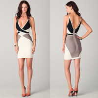 Color Block Strappy V-Neck Bodycon Dress