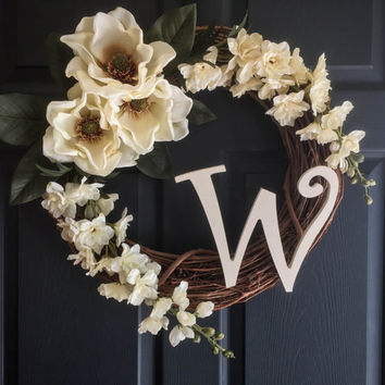 Graceful Magnolia Monogram Wreath - Spring Wreaths - Summer Wreaths - Door Wreath - Personalized Wreath - Housewarming Gift - Wedding Decor