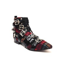 This punk rock style Phelan ankle booties by Jeffrey Campbell, feature a red plaid print tweed upper, patent leather straps construction with multiple buckles accent, pointy toe, low stack heel. Finished with cushioned insole, soft leather lining, and side