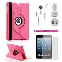 Gearonic TM iPad Mini and iPad Mini with Retina Display 5-in-1 Accessories Bundle Rotating Case for Business and Travel, Hot Pink
