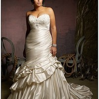 Glamorous Satin Mermaid Strapless Sweetheart Neckline Plus Size Wedding Dress With Embroidery,Beadings and Manmade Diamonds  at dressilyme.com