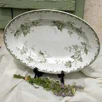 French vintage oval serving plate, Saint Amand & Hamage, French transferware, french ironstone, country home, cottage decor french farmhouse