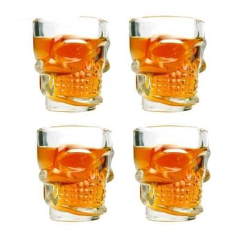 4 PCS Skull Cup Set Crystal Glass Home & Kitchen