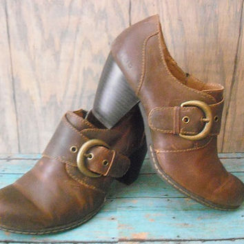 vintage brown leather chunky heels ankle Boots shoes bootlets with Buckles Size 6 1/2