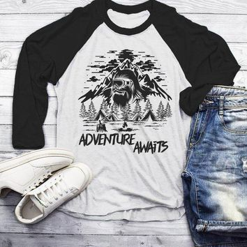 Men's Hipster T Shirt Yeti Shirts Bigfoot TShirt Adventure Awaits Camping Shirt Tent Camper Tee 3/4 Sleeve Raglan