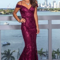 Wine Embroidered Maxi Dress