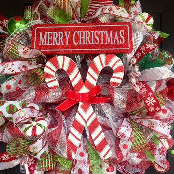 Merry Christmas Deco Mesh Wreath, Christmas deco mesh wreath, Candy Cane Mesh Wreath, holiday wreath, christmas wreath, front door wreath