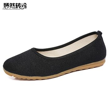 Vintage Women Flats Shoes Simple Slip On Cotton Fabric Linen Soft Ballerina Dance Flat Shoes Woman Sapato Feminino Plus size 42