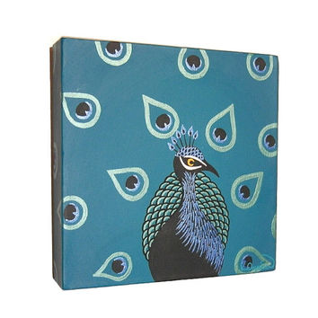 Original Peacock Art - acrylic painting of Indian peafowl, stylised bird artwork on square canvas in teal with metallic detail