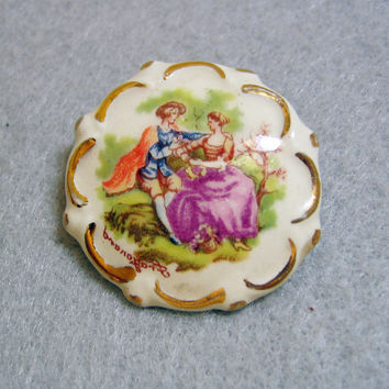 Hand Painted Limoge Porcelain Brooch