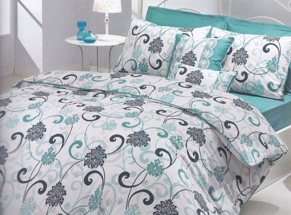 Queen Duvet Cover Set in Mint Green Teal from MyveraLinen on