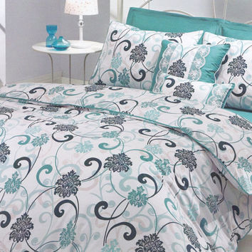 Queen Duvet Cover Set in Mint Green, Teal Blue, Turquoise, Seafoam, White Damask Print – 3-piece Bedding Set with Duvet Cover & Pillow Cases