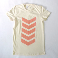 Coral Chevrons Organic Tee by JessalinBeutler on Etsy