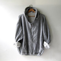 Vintage oversized hoodie / grunge white & gray striped sweatshirt / zip up / hooded pocket pullover