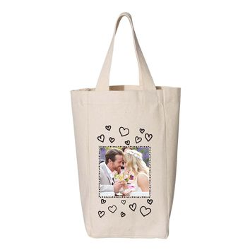 Photo Wine Tote - Hearts and Frame Design - Two Bottle Wine Tote
