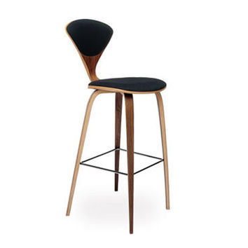 wood leg stool - upholstered seat & back