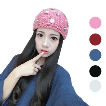 Women hats Knitting Wool girl Winter Warm Hat esquiing Cap Knitted Empty Skull Beanie caps hair accessories bows 44*11cm