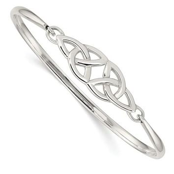 Sterling Silver Celtic Double Trinity Knot Bangle Bracelet