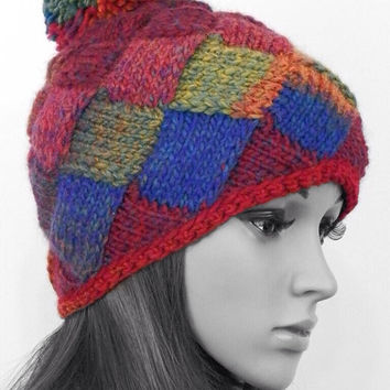 Hand knitted entrelac hat Bright winter