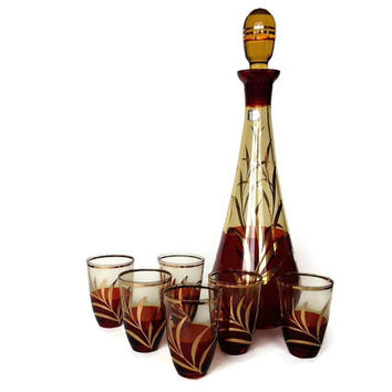 Mid Century, Bohemia Glass Decanter Set, Whiskey Glasses, Wine, Amber, Gold, Fish Pattern