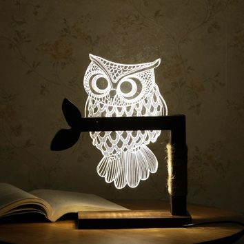 3D Home Decoration Night Light with USB Wooden Base