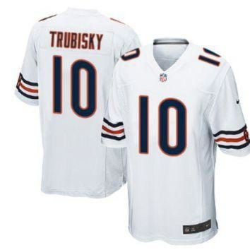ICIKU3N Men's Chicago Bears #10 Mitchell Trubisky White Nike NFL Elite Jersey