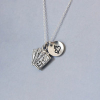 Ace cards Necklace. Playing card charm jewelry. Personalized Initial Necklace. friendship jewelry.Sterling Silver Necklace. No.191