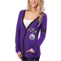 Baltimore Ravens Ladies Slub Button-Up Long Sleeve Cardigan - Purple