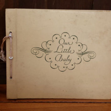 Vintage White and Gold Embossed Faux Leather Our Little Baby Scrap Book Photo Album CR Gibson and Co
