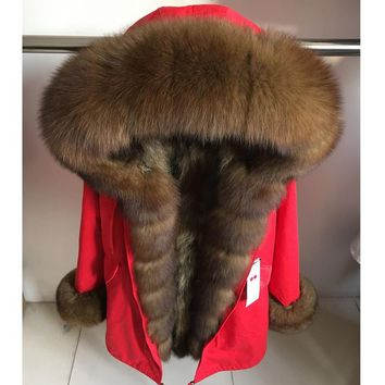 MaoMaoKong Real natural fox collar coat natural Raccoon fur lining winter jacket Long hooded parkas