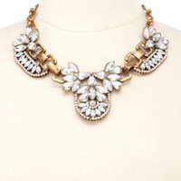 Vintage-Inspired Rhinestone Bib Necklace - Antique Gold