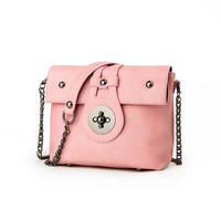 Famous Brand Women Candy Color Messenger Bag With Chains PU Leather Women Shoulder Bags Small Mini S