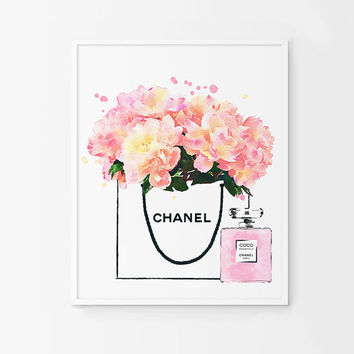 Peonies in a  Chanel shop bag. Coco perfume bottle. Printable flowers. Roses watercolor fashion artwork. Pink flowers artwork.