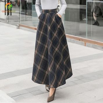 Women Vintage Woolen Plaid Midi Skirt Ladies High Waist Big Swing England Style Long Chic Skirts Brand Ankle-Length Skirts