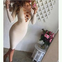 hollow out  tight dress