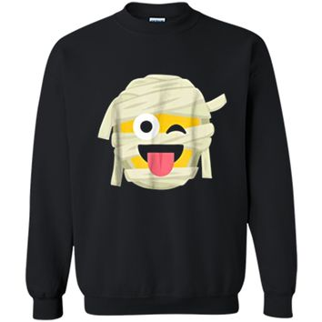 Mummy Emoji  Wink Out Tongue Halloween Costume Tee Printed Crewneck Pullover Sweatshirt