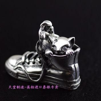 925 sterling silver Sterling Silver Converse canvas shoes with cat pendants