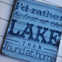 Lake sign - Distressed wood - Recycled wood - Lake decor - lake house - husky blue and navy