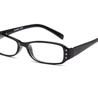 Rhinestones Reading Style Clear Eye Glasses Black T191