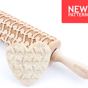 Norwegian elkhound - Embossed, engraved rolling pin for cookies